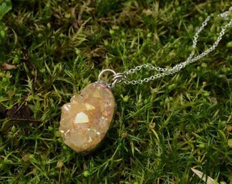 Handmade Soldered Aura Citrine Crystal Necklace