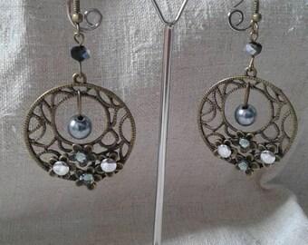 beautiful grey Flower Earrings