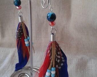 """""""Indian style"""" blue earrings"""