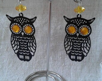 black and yellow OWL earrings