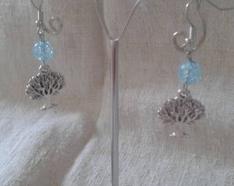 tree and blue pearl earrings
