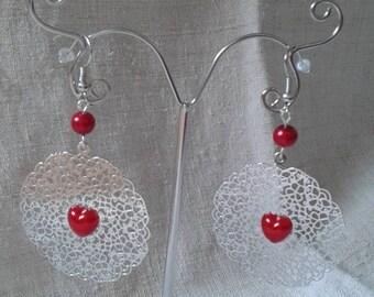 """""""little red heart"""" earrings"""