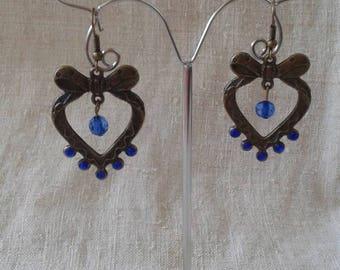 Pearl and bronze heart earrings