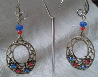 Blue and red floral earrings