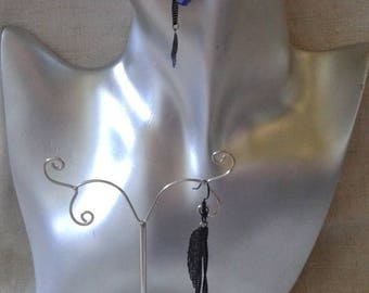 """black and silver chain leaf"" earrings"