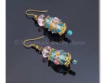 Blue Earrings, Lampwork Earrings, Beaded Earrings, Statement Jewelry, Floral Jewelry, Handmade Jewelry, Gift For Her, Spring Jewelry