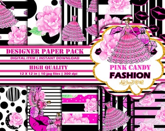Digital Paper Pink Candy Fashion, Fashion Paper Pack, Digital Backgrounds, Fashion Digital Paper, Fashion Illustrations, Cute Dots, Floral