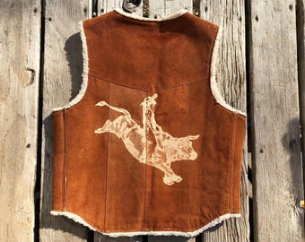 Steer Brand Leather Shearling Lined Western Vest