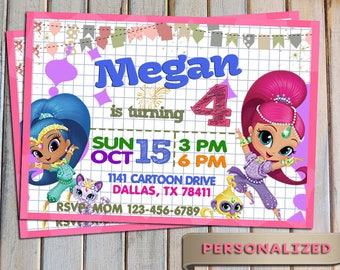 SALE 20 % Shimmer and shine Invitation, Shimmer and shine Invite, Personalized, Printable, Digital file, Thank you card free
