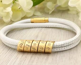 Leather bracelet - Personalized bracelet for women - Leather bracelet for women - Best friend bracelet - Personalized handstamped - Custom
