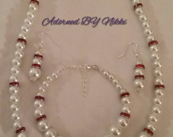 White Pearl beaded jewelry set.