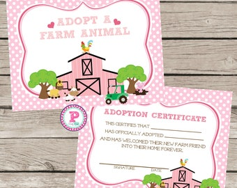 Pony adoption etsy farm adopt a pet sign certificate horse farm animal birthday party ideas pink polka dot barn yadclub Gallery