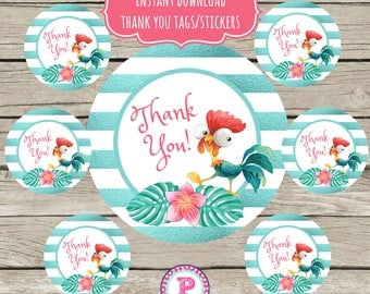 INSTANT Moana Circle Stickers Party Labels Favor Tags Treat Bag Birthday Girl Thank You Hei Hei Watercolor Metallic Stripes Tropical Palms
