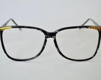 Vintage Jil Sander Black and White Marbled Eye Glasses Frame