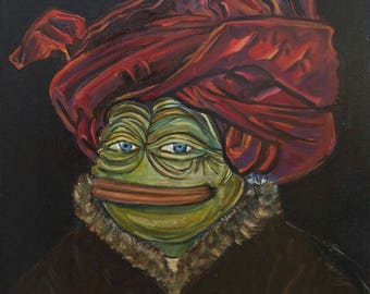 Portrait of Pepe in a Red Turban, oilpainting Pepe the Sad Frog In Red Turban, big oilpainting 50×50 cm, bitcoins accepted