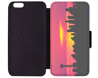 Seattle Skyline Sunset Space Needle Print Pattern Leather Wallet Flip Phone Case Cover Apple iPhone 5 5S 6 6S 7 Plus