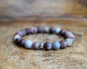 Artistic Jasper / Mala Bracelet / Hill Tribe Silver / Yoga Jewelry / Spiritual Jewelry / Stretch Bracelet / Healing Bracelet / OM / Silver