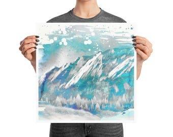 Blue Boulder Colorado Flatirons Watercolor Poster, 10x10, 12x12, 18x18, Psycho Decor, Abstract Mountain Print