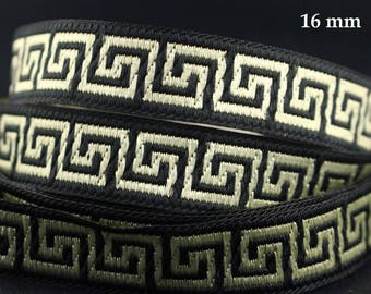 10 m Ribbon embroidered Jacquard * Greek pattern * 16mm wide