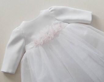 MIA soft - baptism dress, long sleeve christening dress, long sleeves baptism dress, christening dresses with flowers, tulle baptism dress