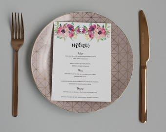 Floral Wedding Menu -  Colourful Blooms Wedding Menu - Modern Calligraphy Wedding Menu - Formal Menu - On the Day Stationery - Wedding Day