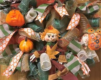 Fall Scarecrow Deco Poly Mesh Wreath
