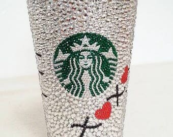 Free Domestic Shipping - Personalized XOXO Multi-sized Crystal Starbucks Cold Cup.