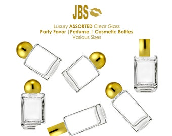 24 Assorted Perfume Glass Mini Bottles for Botanical Oils, Samples, Makeup with SHINY Gold Metallic Dome and Straight Caps