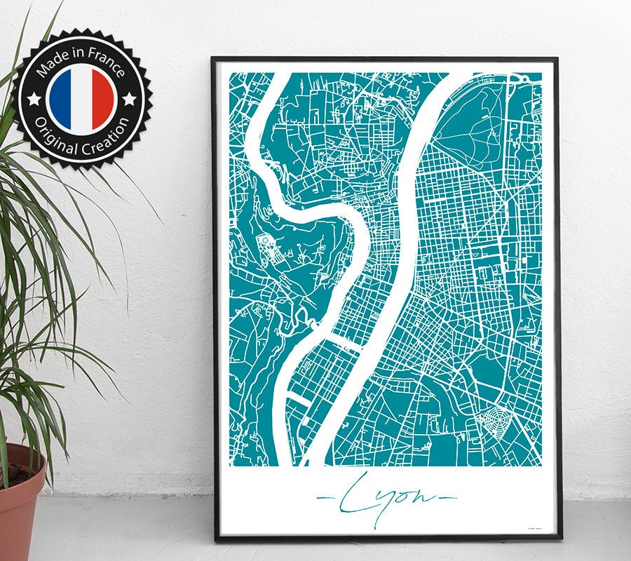 affiche lyon france unicolor map plan de ville city map. Black Bedroom Furniture Sets. Home Design Ideas