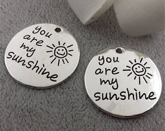 Antique Silver Letter You are my sunshine Disc Charms Pendant,Round Charm for Necklace Bracelet Handmade Accessories