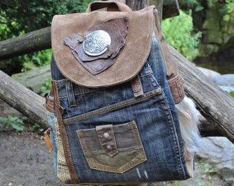 Backpack, Celtic style, leather, fur, jeans, Upcycling