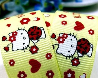 Ribbon grosgrain yellow hello kitty cat white Ladybug customisation