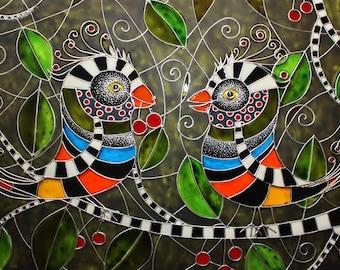 love birds painting cherry tree bird couple original painting painted glass