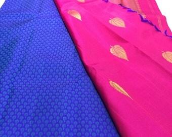 Pure silk handwoven handloom a blue kanjivaram saree