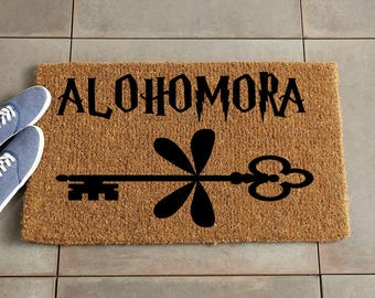 Alohomora Doormat/Harry Potter Doormat/Harry Potter Decor/Custom Doormat/Custom Welcome Mat/Personalized Doormat/Door Mat/Coir doormat