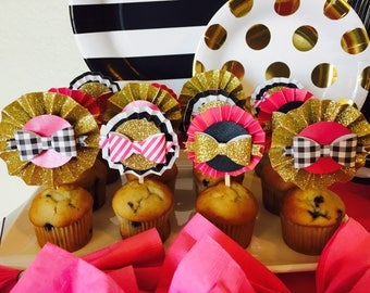 CUPCAKE TOPPERS - Kate Spade Inpired Cupcake Toppers - Bows - Pink - Gold - Black
