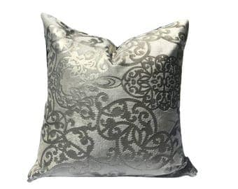 20in or 18in Pillow Cover, Decorative Pillow Cover, silver and cream Pillow, Throw Pillow, Accent Pillow, Cushion Cover
