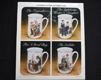 Collector's Porcelain Mug Set by Norman Rockwell w/ Pure 24 Karat Gold Trim NEW