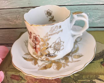 50th Anniversary Tea Cup and Saucer Set by Royal Crown Gold Roses Fine Bone China Vintage England Made Lovely