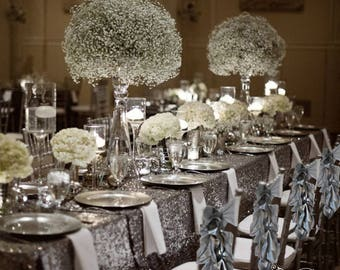Silver Wedding Chair Sashes Covers Special Event Decoration Set Of