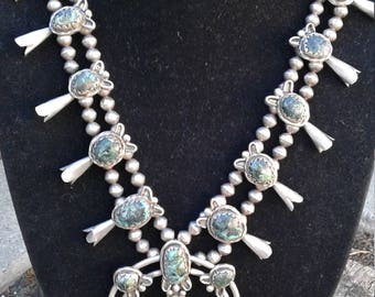 Vintage Native American Sterling Silver and Turquoise Squash Blossom necklace