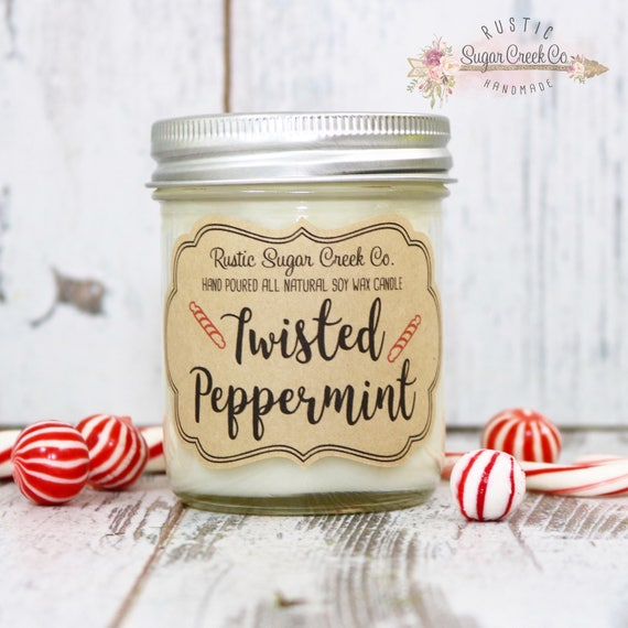Twisted Peppermint Scented Candle by RusticSugarCreekCo