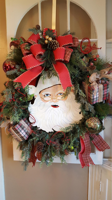 Large Christmas Wreath,christmas Wreath, Santa Wreath, Door Decoration,  Fireplace Mantle Wreath