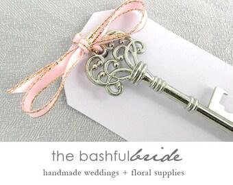 10 wedding favor for guests, 20 colors, skeleton key bottle opener, favor tag, bachelorette party favor, shower favor, bridal shower favor
