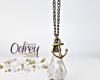 Jewelry necklace terrarium, botanical jewelry, jewelry, vintage souvenir, Globe glass, anchor boat, brass, lucky charm
