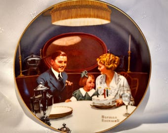 1984 The Birthday Wish by Norman Rockwell Rockwell's Light Campaign Collection Collector Plate with COA #10376H