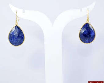 Sapphire earring, blue color earring , gold plated earring , drop earring, natural stone earring, September birthstone earring ,long earring