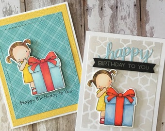 2in1 ,birthday cards , hand made , stamping , card stock , embossing , alcoholic markers coloring , beautiful , for everyone
