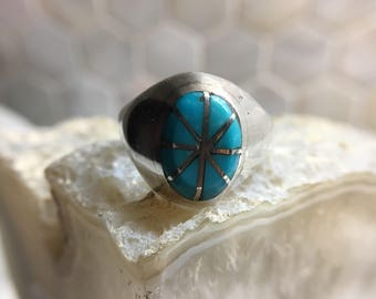 Silver and Turquiose Inlay Ring