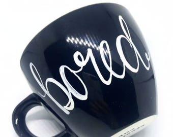 "FREE SHIPPING Cheeky China, ""Bored"" Skull Inside Coffee / Tea Mug / Monday Morning Meeting Mug"